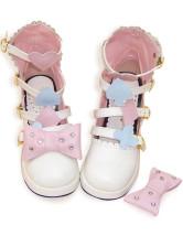 ホワイトとピンク  ロリータ靴 アンクルストラップ バックル  PU