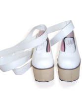 3 1/2'' Heel 2 4/5'' Platform White PU Rocking Horse Lolita Shoes