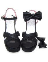 3 3/10'' High Heel 1'' Platform Black Bow PU Lolita Sandals
