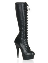 5 7/10'' Heel 1 4/5'' Platform Black Lace Tie Matt Leather Women's Mid Calf Boots