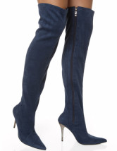 Grey 4 1/10'' High Heel T/R Bengaline Sexy Knee-High Boots