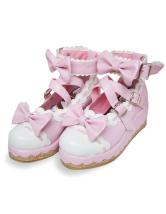 ピンクとホワイト  ロリータ靴 クロス バックル  PU