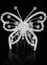 White And Silver Alloy With Rhinestone Inlaid Wedding Bridal Hairpin