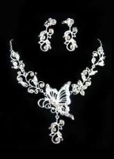 Ensemblede bijoux de mariage pendentif fleur de rhinestone