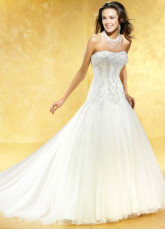 Lace Glamorous White A-line Strapless Sweep Satin Wedding Dress