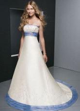 Well White Empire Waist Strapless Sweep Beading Sash Satin Wedding Gown