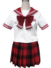 Red Short Sleeves Sailor School Uniform Cosplay Costume