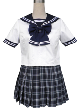 Royal Blue Short Sleeves Sailor School Uniform Cosplay Costume