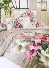 4-pc Comfortable Light Brown Floral Cotton Duvet Cover Bedding Set