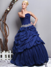 2012 Royal Blue Strapless Floor Length Organza Applique Ball Gown