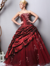 Gorgeous Burgundy Strapless Taffeta Evening Dress