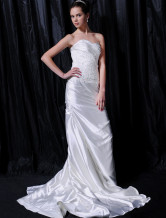 Ivory Taffeta Mermaid Trumpet Wedding Dress