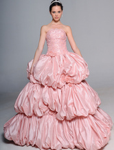 Romantic Pink Ball Gown Strapless Beading Embroidery Taffeta Wedding Dress