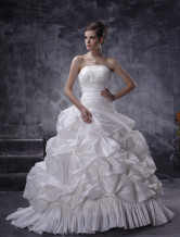 Stunning White Taffeta Sleeveless Pleated 2012 Bridal Dress