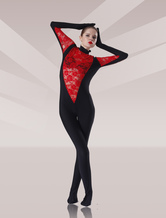 Black And Red Lycra Lace Zentai Catsuits