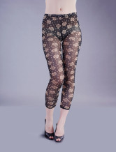 Black Semi-Transparent Polyester Womens Leggings