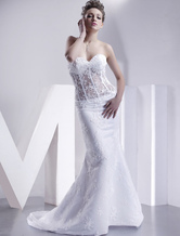 2012 Style Sweetheart Strapless Mermaid Trumpet Satin Wedding Dress