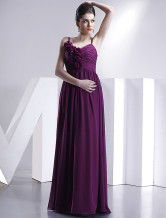 Burgundy Spaghetti Chiffon Satin Silk Evening Dress
