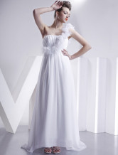 A-line One Shoulder Chiffon Wedding Dress