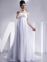 White Empire Waist Sheath Strapless Wedding Dress