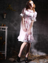 Modern Popular Gothic Pink White Short Sleeves Cotton Lolita Dress