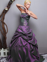 2012 Strapless Grape Floor Length Taffeta Ball Gown Dress