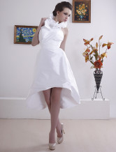 Unique Halter Taffeta Reception Mini Wedding Dress For Bride