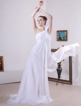 White One-shoulder Satin And Chiffon Empire Waist Wedding Dress