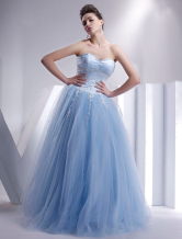 Beautiful Sky Blue Sleeveless Satin Soft Tull Floor Length Ball Gown