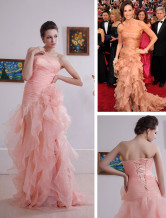 Beautiful Pink Strapless Sweep Satin Organza Evening Golden Globe Dress