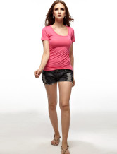 Adorable Fuchsia 65% Cotton 35% Polyester Round Neck Ladies Tee Shirt