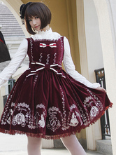 Classic Cinderella Claret Cotton And Satin Womens Lolita Dress