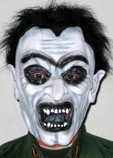 Zombie White Black Latex Halloween Scary Mask