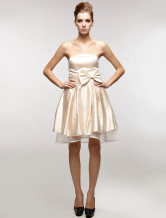 Wonderful Champagne Satin Gauze Strapless Bow Cocktail Dress