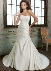 Ivory Strapless Sweep Train Satin Wedding Dress For Bride