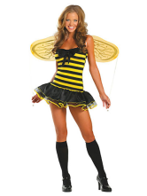 Sexy Yellow Acrylic Spandex Womens Honeybee Costume