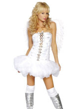 Adult Sexy White Queen of Angels Corset Costume