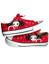 Sweet Red Hand-painted Canvas Flat Shoes For Women