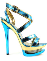 Glittery Blue PU Leather 5 7/10'' High Heel 1 1/2'' Platform Womens Sandals