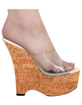 Unique Wood Grain PU 2 3/5'' Platform 6 1/2'' High Wedge Sandals For Women