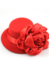 Beautiful Red Satin Flower Womens Hat