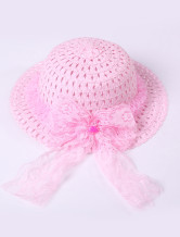 Beautiful Pink Lace Trim Weaved Hat Girls Barbie Costumes