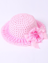 Sweet Pink Lace Trim Weaved Hat Girls Barbie Costumes