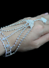 Silver Alloy Rhinestone Wedding Bridal Bracelet
