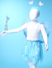 Aqumarine Gauze Cute Wings Dance Skirts Girls Barbie Costumes