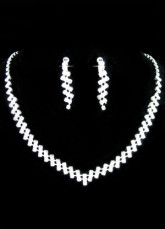 Classic Silver Rhinestone Alloy Earrings And Necklace