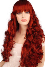 80cm Beautiful Brown Red Nylon Womens Curly Cosplay Wig
