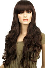 80cm Fashion Brown Black Nylon Womens Curly Cosplay Wig