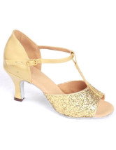Luxury Golden PU Cowhide Bottom 1 1/5'' High Heel Womens Latin Shoes