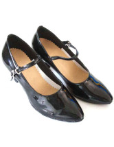 Vintage Black PU Cowhide 2 3/4'' High Heel Womens Latin Shoes